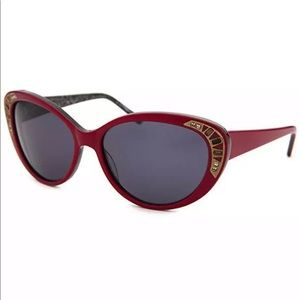 Judith Leiber Red Cat-Eye Sunglasses NWT